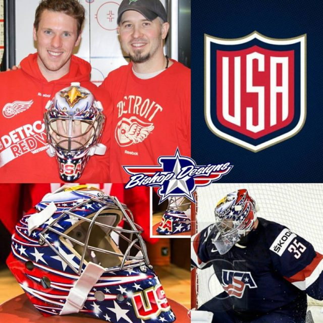 bishopdesigns and Jimmy Howard with his USA design vaughncustomsports maskhellip