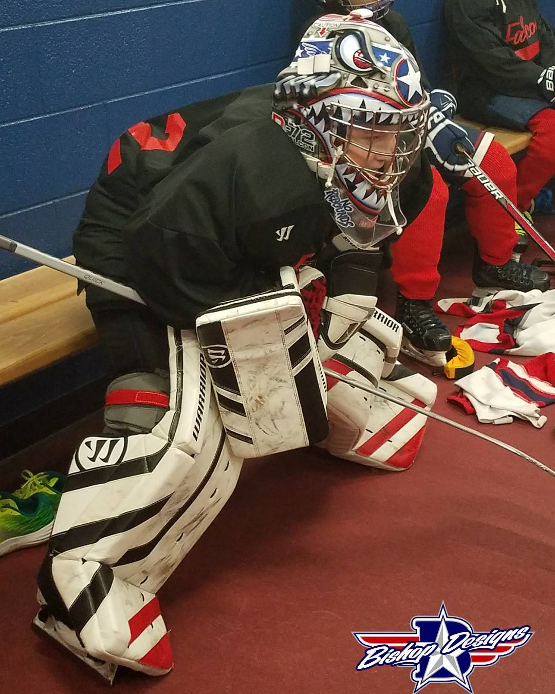 Love this kid! nator72 warriorgoalie warwickmask bishopdesigns bishitup grateful familyhellip