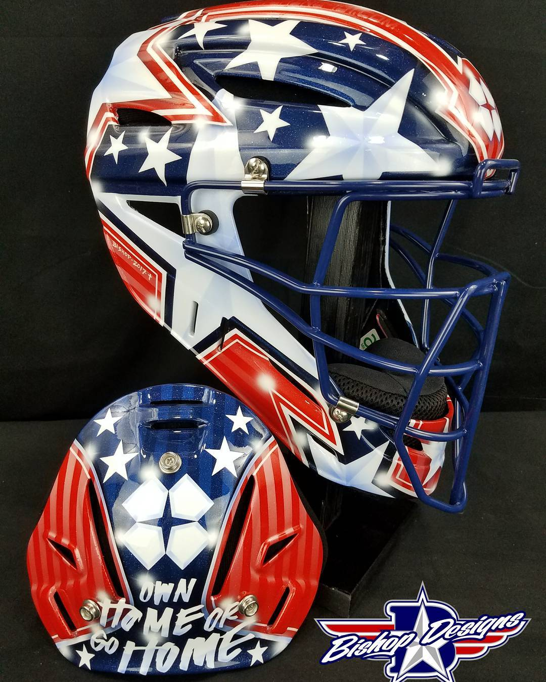 Custom bishopdesigns USA design on an allstarsportinggoods catchers mask forhellip