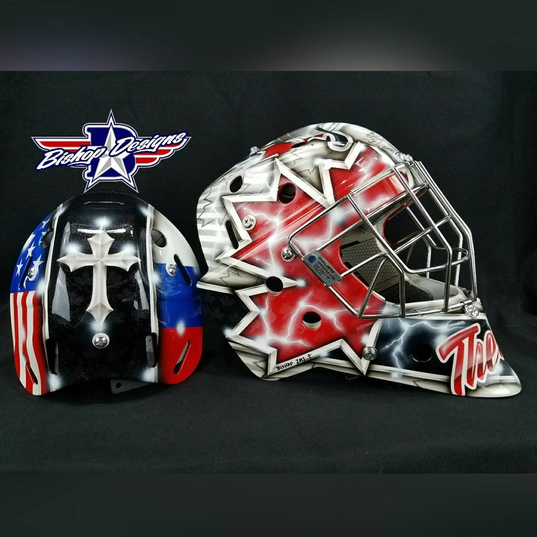 Heres a look at athewes35 new poehockey bauergoalie mask customhellip