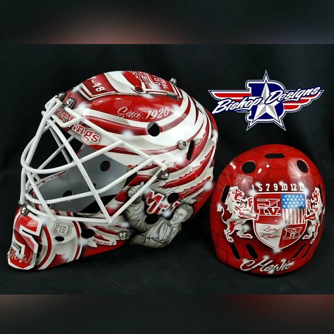 Jimmy Howard detroitredwings 201718 mask Custom painted by bishopdesigns Bishituphellip