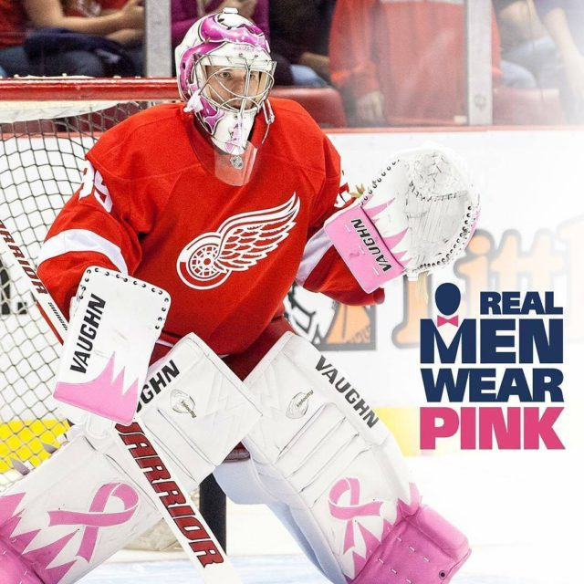 Regrann from detroitredwings  Join Jimmy in the americancancersocietys RealMenWearPinkhellip