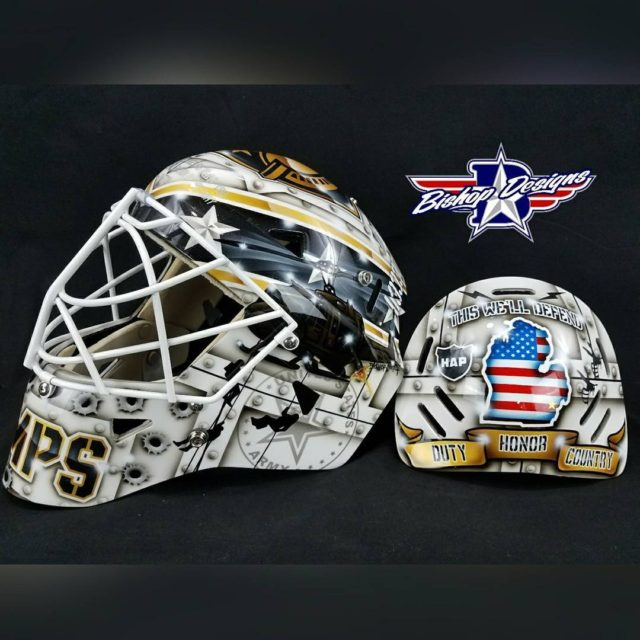 Jared Dempsey dustydemp armyhockey warwickmask custom painted by bishopdesigns Bishituphellip